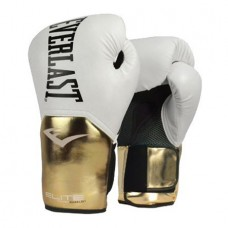 Elite Pro Style Training Gloves, White/Gold